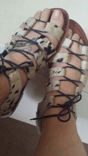 Pony hair gladiator sandals