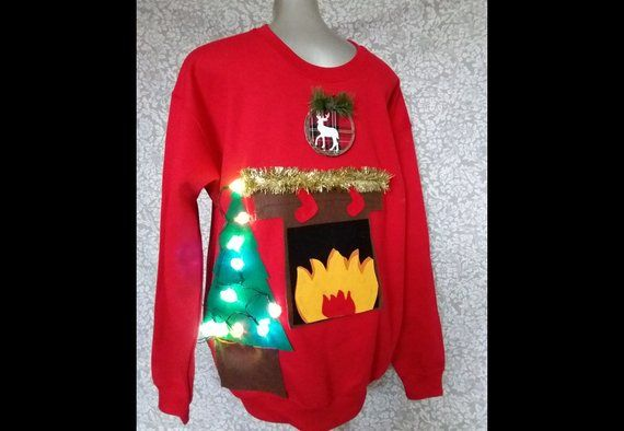 Fireplace Ugly Christmas Sweater Size M L Xl The Night Before