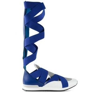 """If I had a Pinterest Board called """"WHY??"""", these would be the first thing in It.  Possibly the ONLY thing In It.     Vionnet Crossed Strap Sneaker Boots"""
