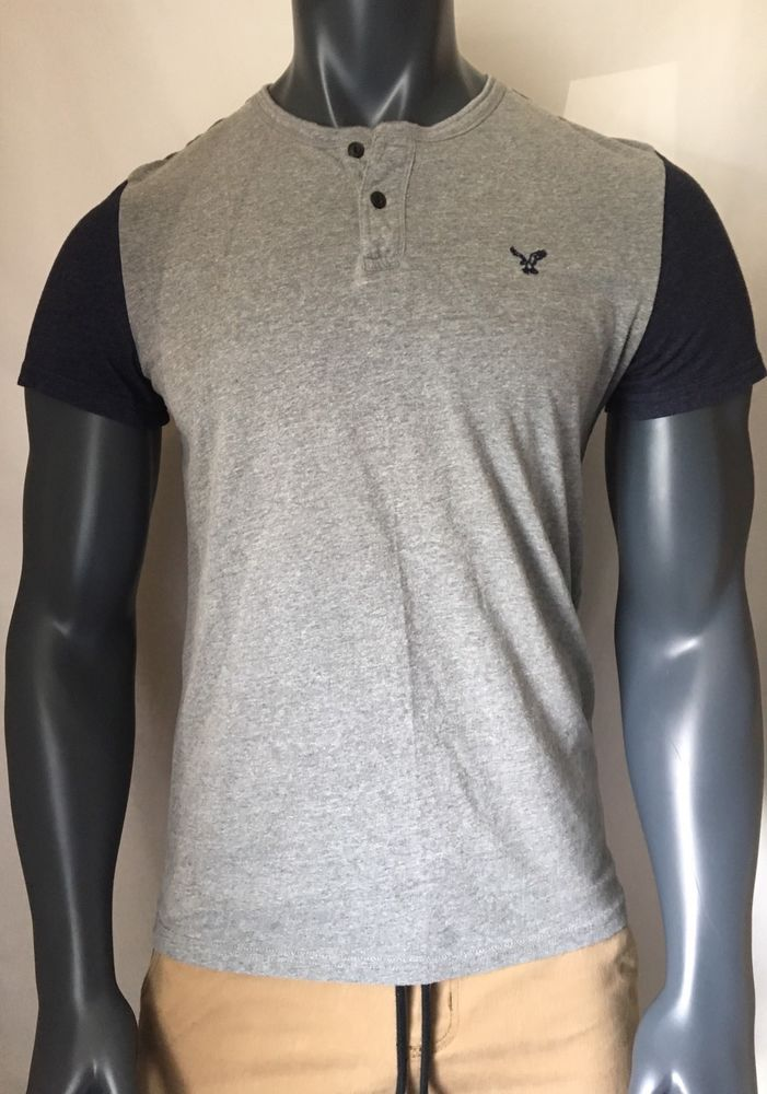 mens - AMERICAN EAGLE shirt - M - CLASSIC FIT - T-Shirt - Gray 2 Buttons #AmericanEagleOutfitters #Henley