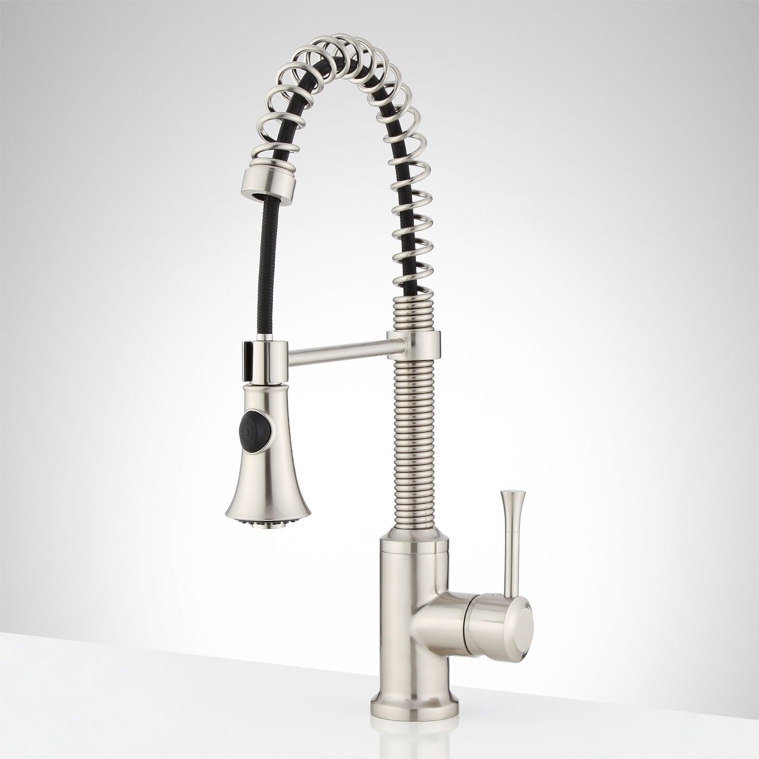Bethel Single-Hole Kitchen Faucet with Pull-Down Spring Spout ...