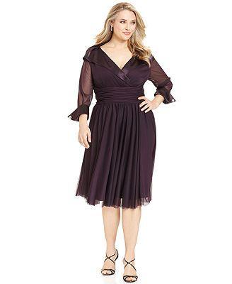 Jessica Howard Plus Size Dress Three Quarter Sleeve Portrait Collar