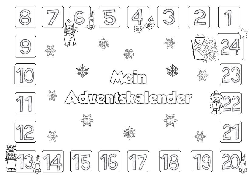 Ideenreise Adventskalender Zum Ausmalen Weihnachten Advent