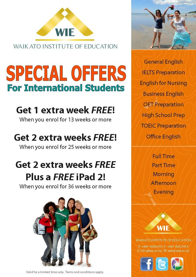 Special Offer For English Courses In New Zealand Study English In