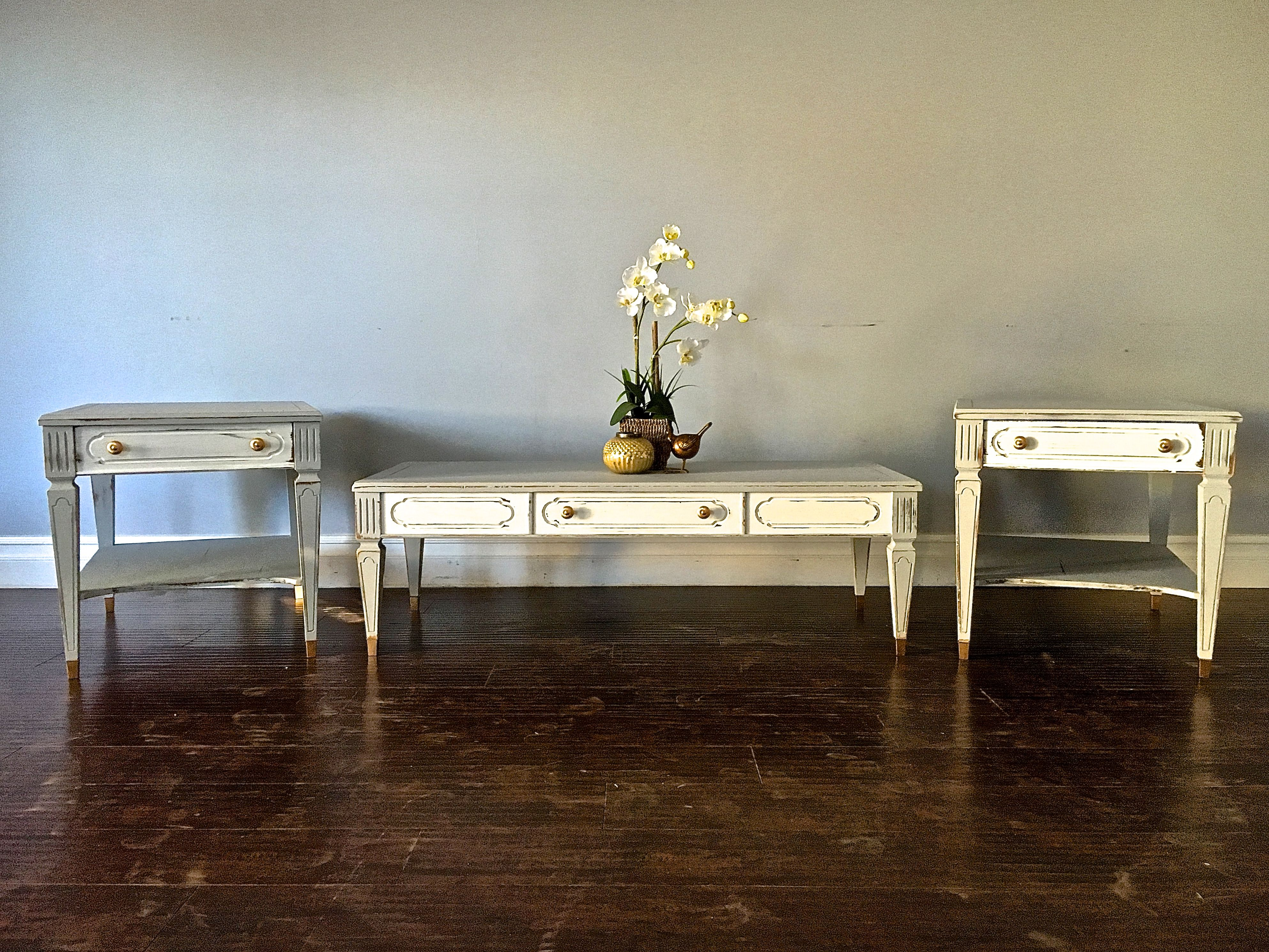 shabby chic gray white gold coffee table end table set 300