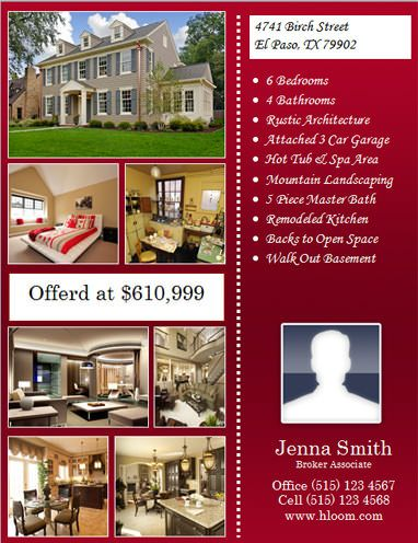 flyer template with many pictures and seller info hloom home staging real estate sales. Black Bedroom Furniture Sets. Home Design Ideas