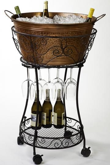 copper home decorative items | Faux-Copper Beverage Tub and Stand - Barware  - Tabletop