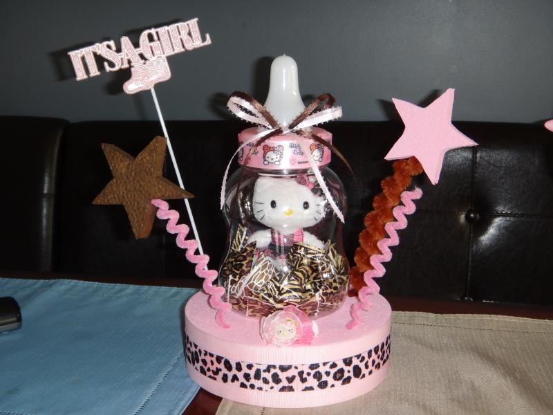 Hello Kitty Baby Shower Pink/Brown Leopard Print Centerpiece