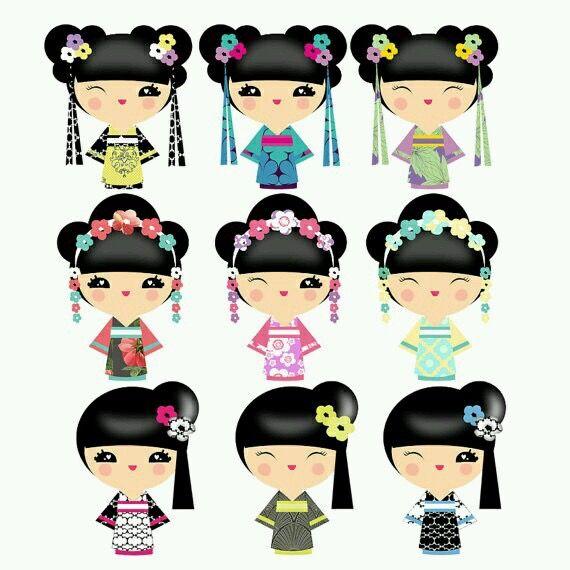 Pin by Maggie Heng on cute/kaiwaii stickers | Kokeshi ...