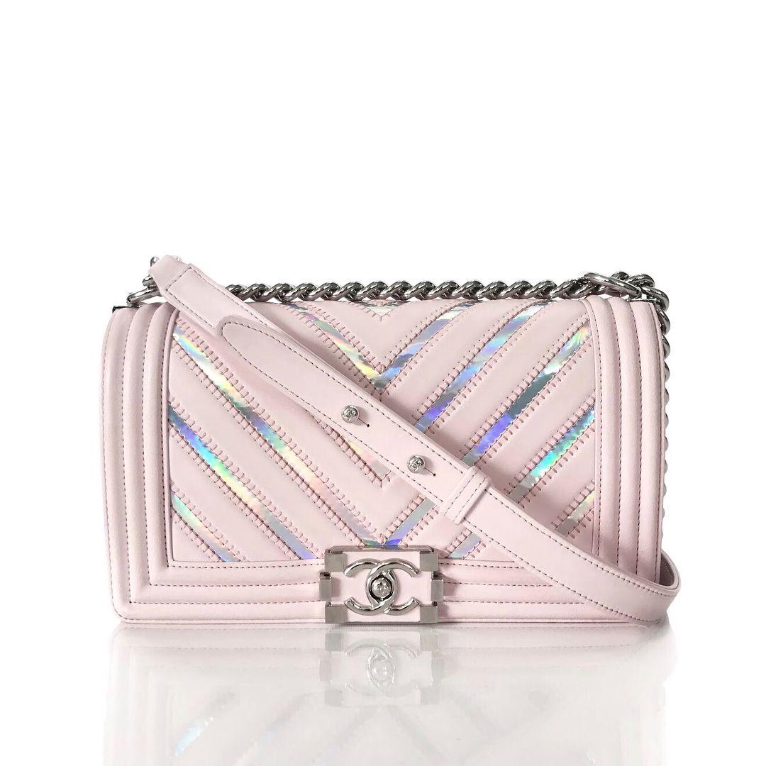 4c12d67f7102 Limited Edition 🦄 Chanel Fall/Winter 2017 Collection Light Pink Chevron  Lambskin Iridescent PVC Original Medium Boy Flap Bag with Silver…