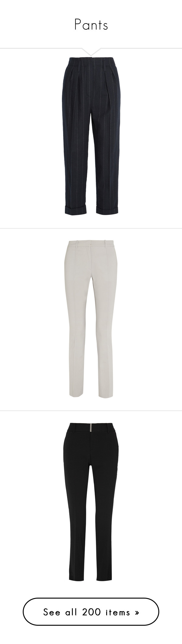 """""""Pants"""" by carolines-closet ❤ liked on Polyvore featuring pants, capris, trousers, lanvin, blue, pleated wool pants, pinstripe pants, cropped capri pants, pleated pants and blue crop pants"""