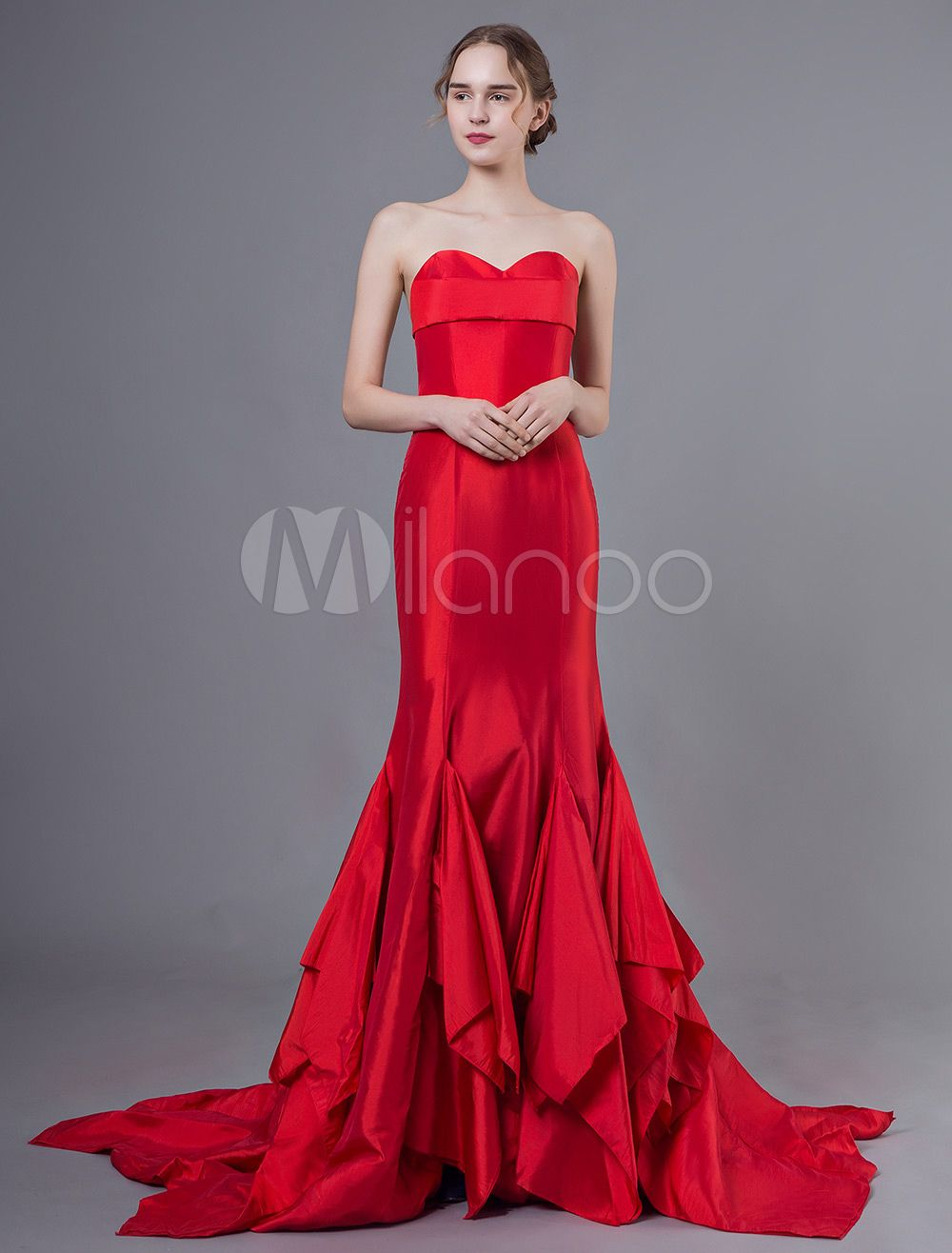 Photo of Red evening dresses strapless mermaid evening dresses in taf …