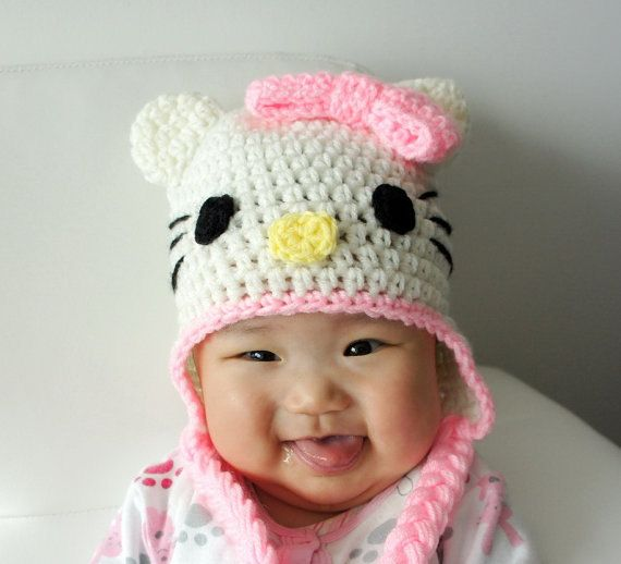 Hello Kitty Hat, Crochet Baby Hat, Baby Hat, Animal Hat, Pink, photo prop, Inspired by Hello Kitty. $22.99, via Etsy.