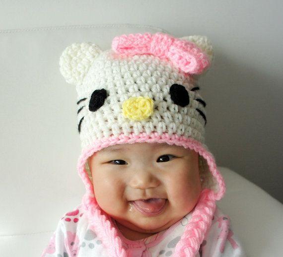 Hello Kitty crochet baby hat | lembrancinhas | Pinterest | Gorros ...