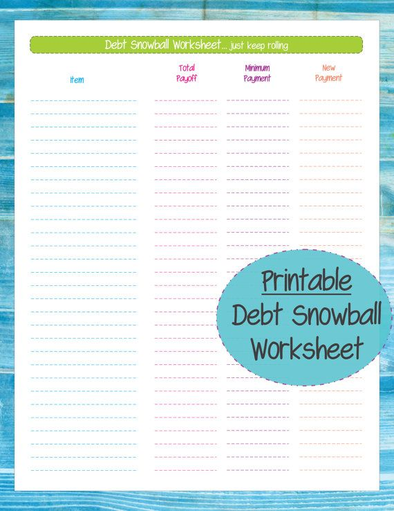 debt snowball worksheet with motivation cards