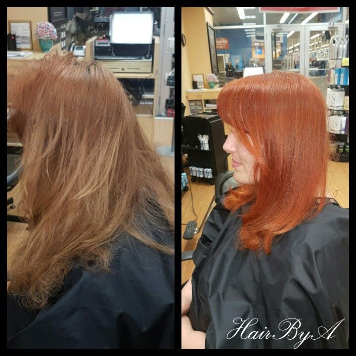 Red Copper Hair Before And After Formula Used Matrix Socolor 6rc