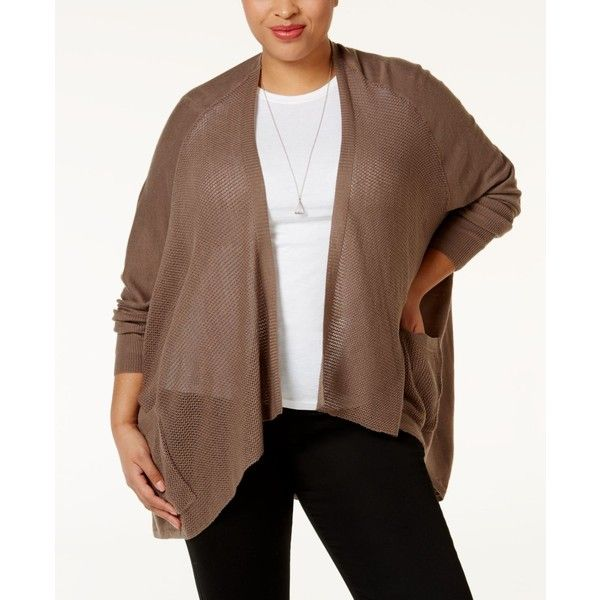 Love Scarlett Plus Size Pointelle-Knit Cardigan ($51) ❤ liked on ...