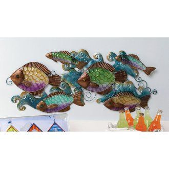 Fish Decor For Walls school of fish glass wall decor | nautical decor - beach decor