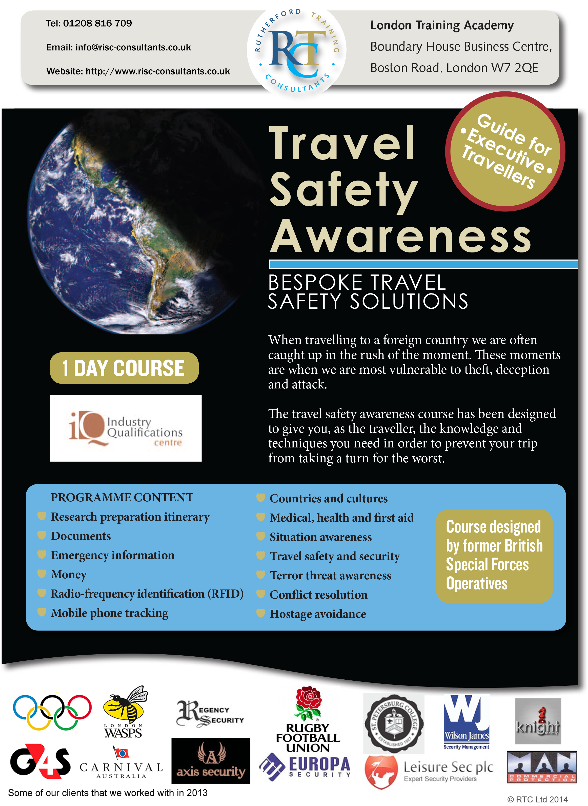 Flyer for our Travel Safety Awareness for Executive