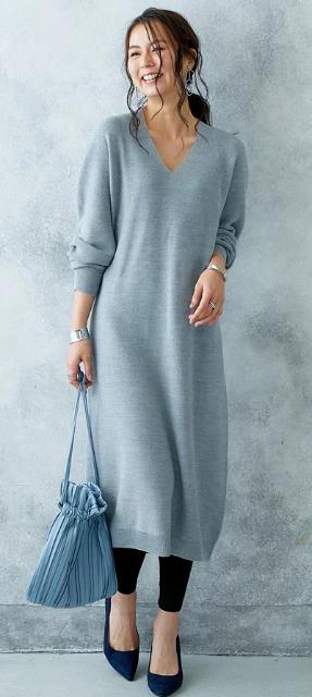 レディースファッション hana服 ホールガーメント 縫い目のない美しいニットワンピースを使ったコーディネート 通販 ニッセン ファッション レディース ファッション ニットワンピース