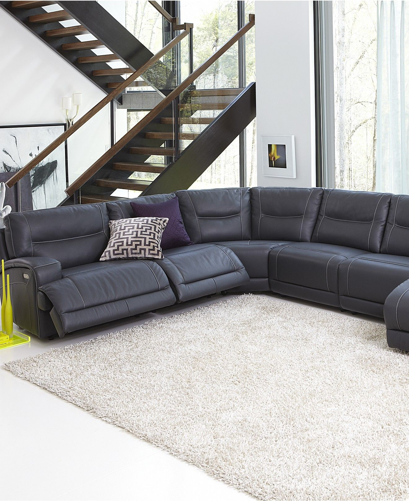 Best Caruso Leather 6 Piece 1 Power Motion Sectional Sofa 400 x 300