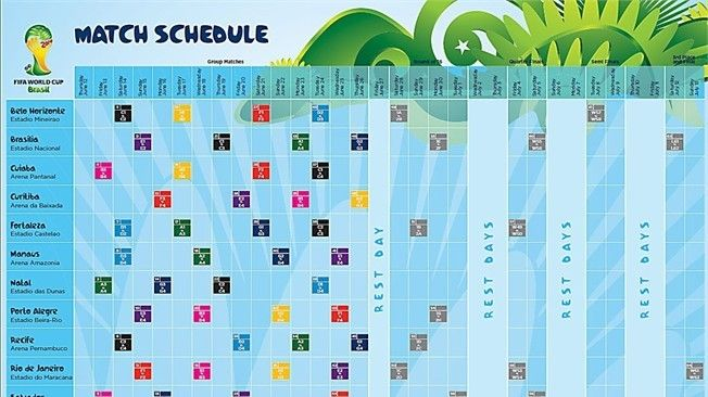 Match Schedule For 2014 Fifa World Cup Unveiled World Cup Schedule Fifa 2014 World Cup World Cup 2014