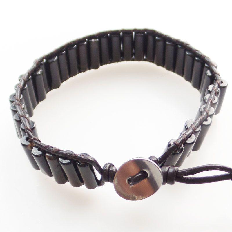 (Min.order 10$ mix) A Strand 13x5mm Black Agate Column Beads Wrap Leather Adjustable Bracelet 7.5 inch SHX1325