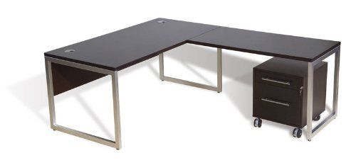 """3PC L Shape Modern Contemporary Executive Office Desk Set, #JS-VAR-L3 by UTM. $2399.00. Hardware - high quality European hardware including locks, keys, storage and filing. Design - cleverly designed to help you customized or integrate rooms in your home or office. Wood - commercial grade contract quality wood veneer, solid edges with aluminum frame base. Wire management - smart wire management for flexible system. Desk: 63"""" x 80"""" x 29""""h, Mobile Ped: 18.5"""" x 19"""" x 21""""h, Weight (l..."""