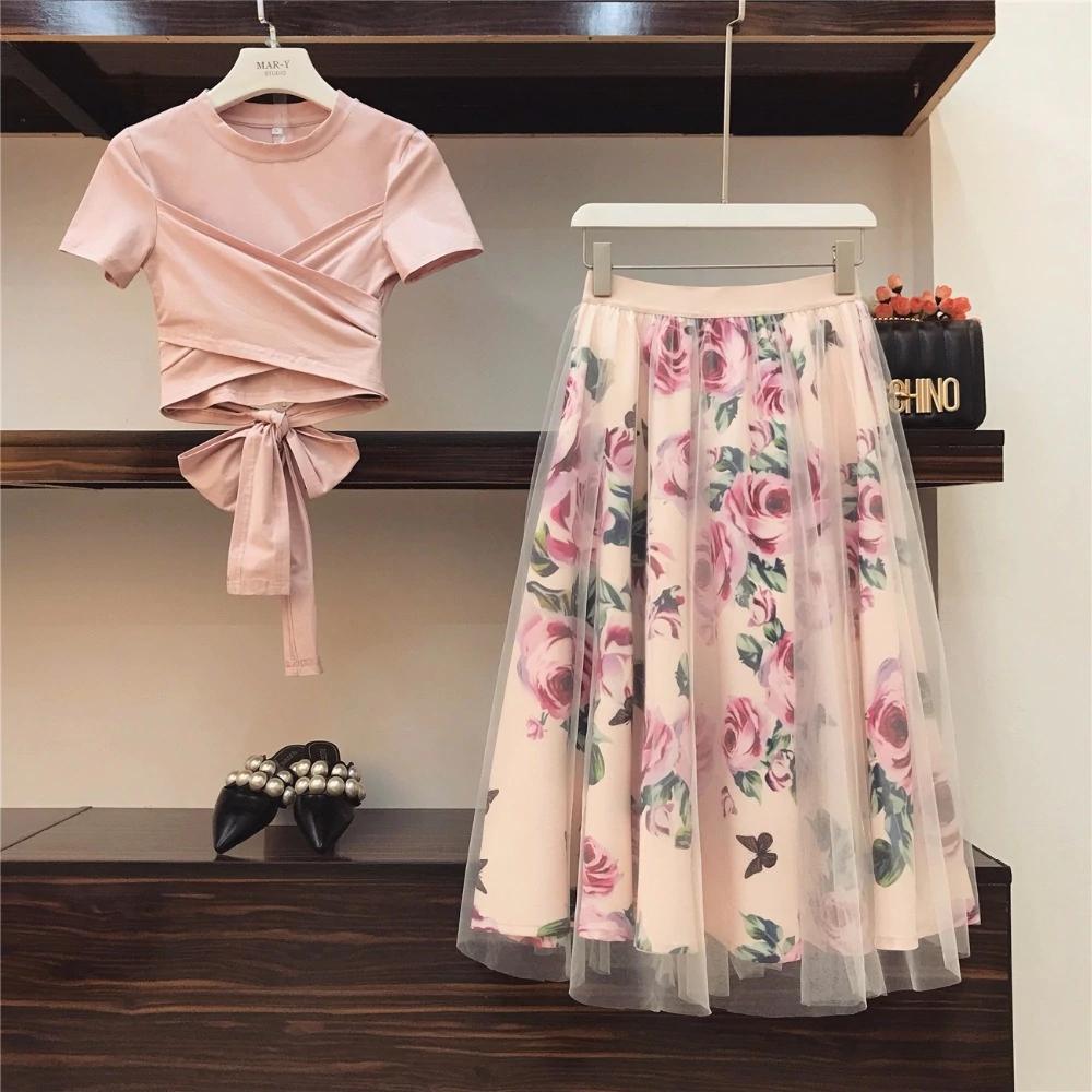Summer 2 Pieces Bow Cotton Tshirt Tops Floral Print Lace Skirts Set Women Two Piece Set Vintage Floral Skirt Ladies Dress Design Fashion [ 1000 x 1000 Pixel ]