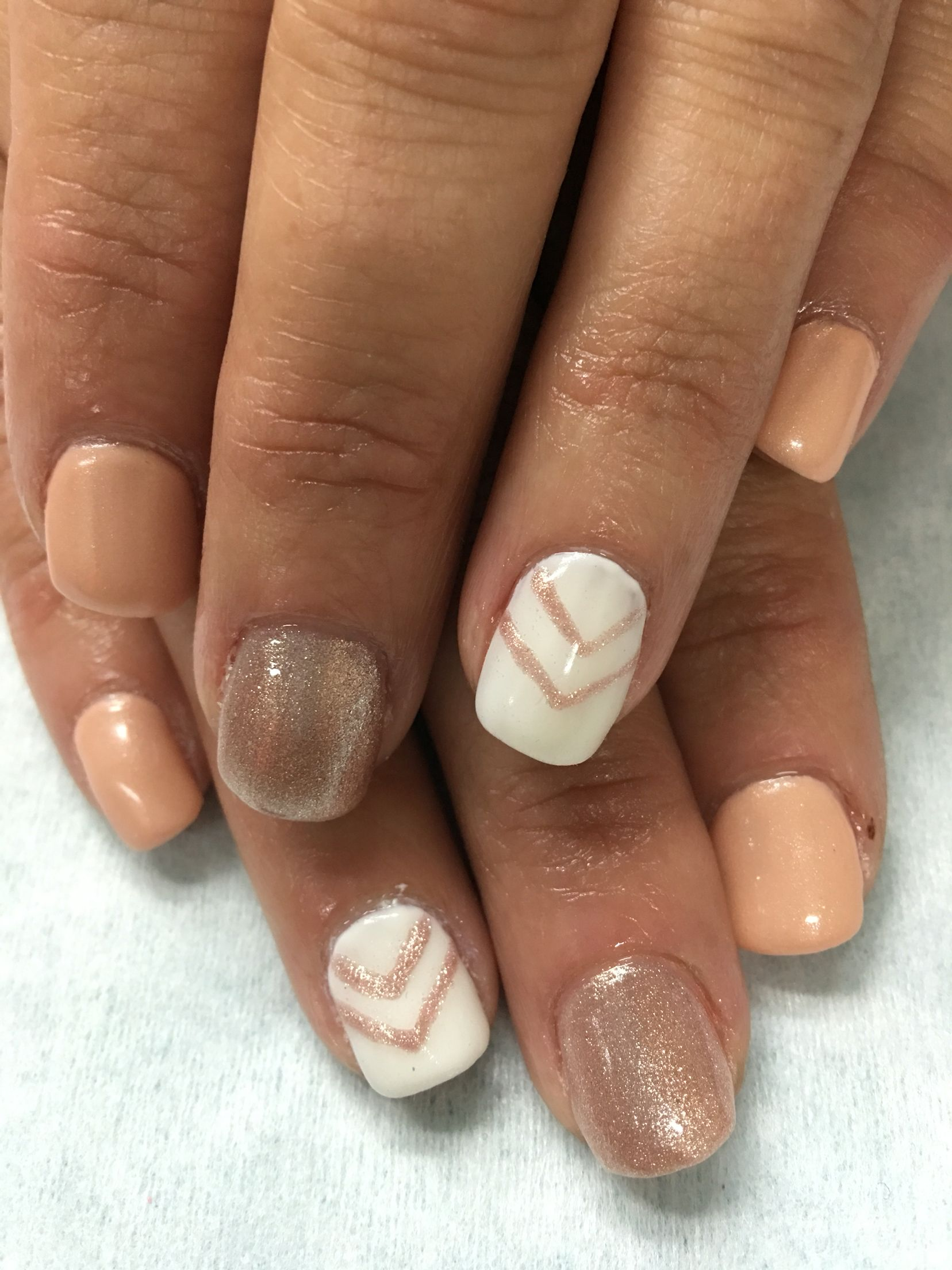 Custom created Nude, Shimmer Rose Gold & White w/ Chevron gel nails ...