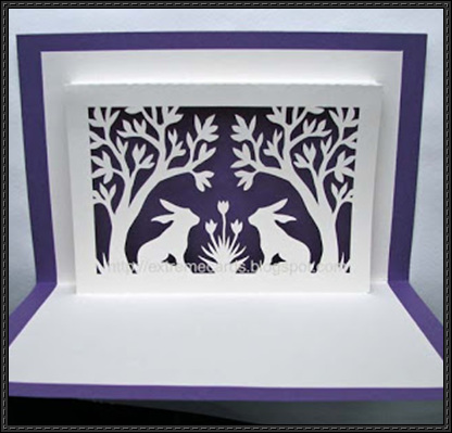 Easter Bunnies And Trees Window Pop Up Card Free Papercraft Pop Up Card Templates Pop Up Cards Window Cards