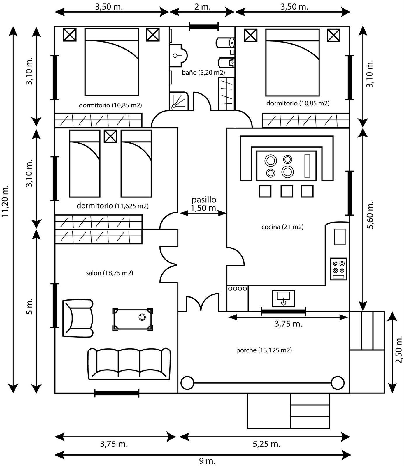 Plano casa 1386 1600 construcci n for Plano construccion casa
