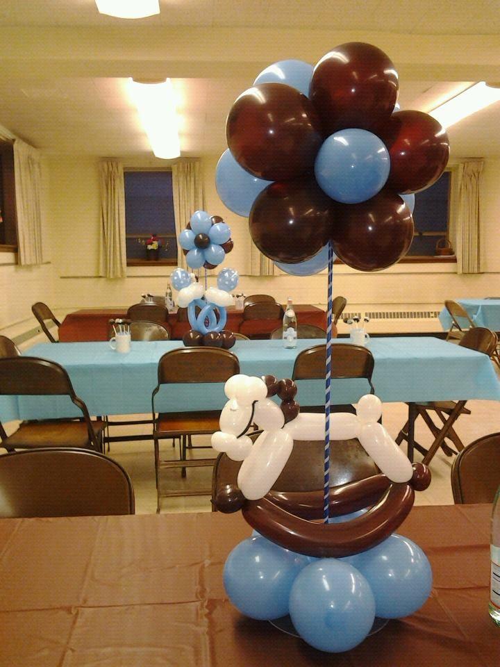 See My Work On Rosielloons Rocking Horse Balloon Centerpiece Blue Brown Baby Shower Decor