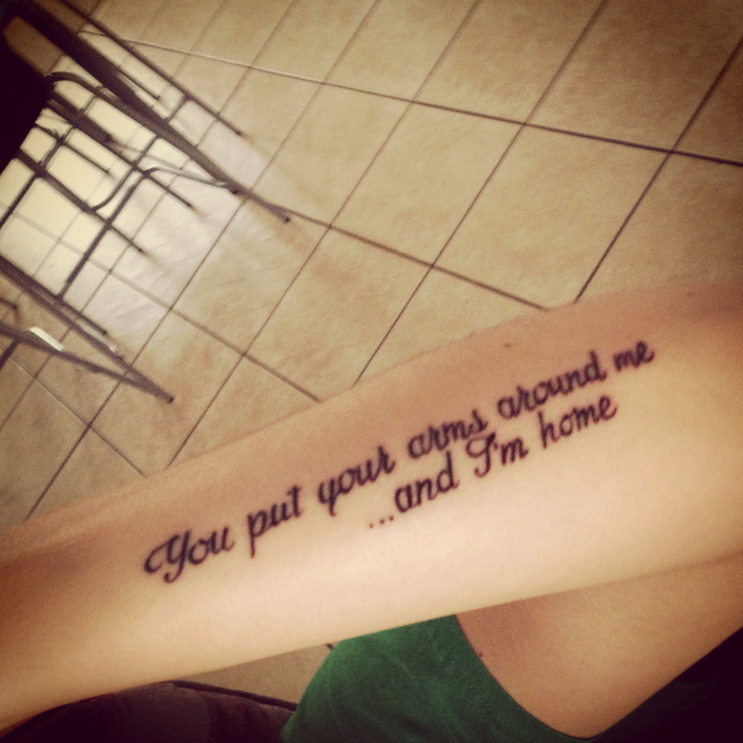 Quote tattoo from Christina Perri's song Arms | Tatuering