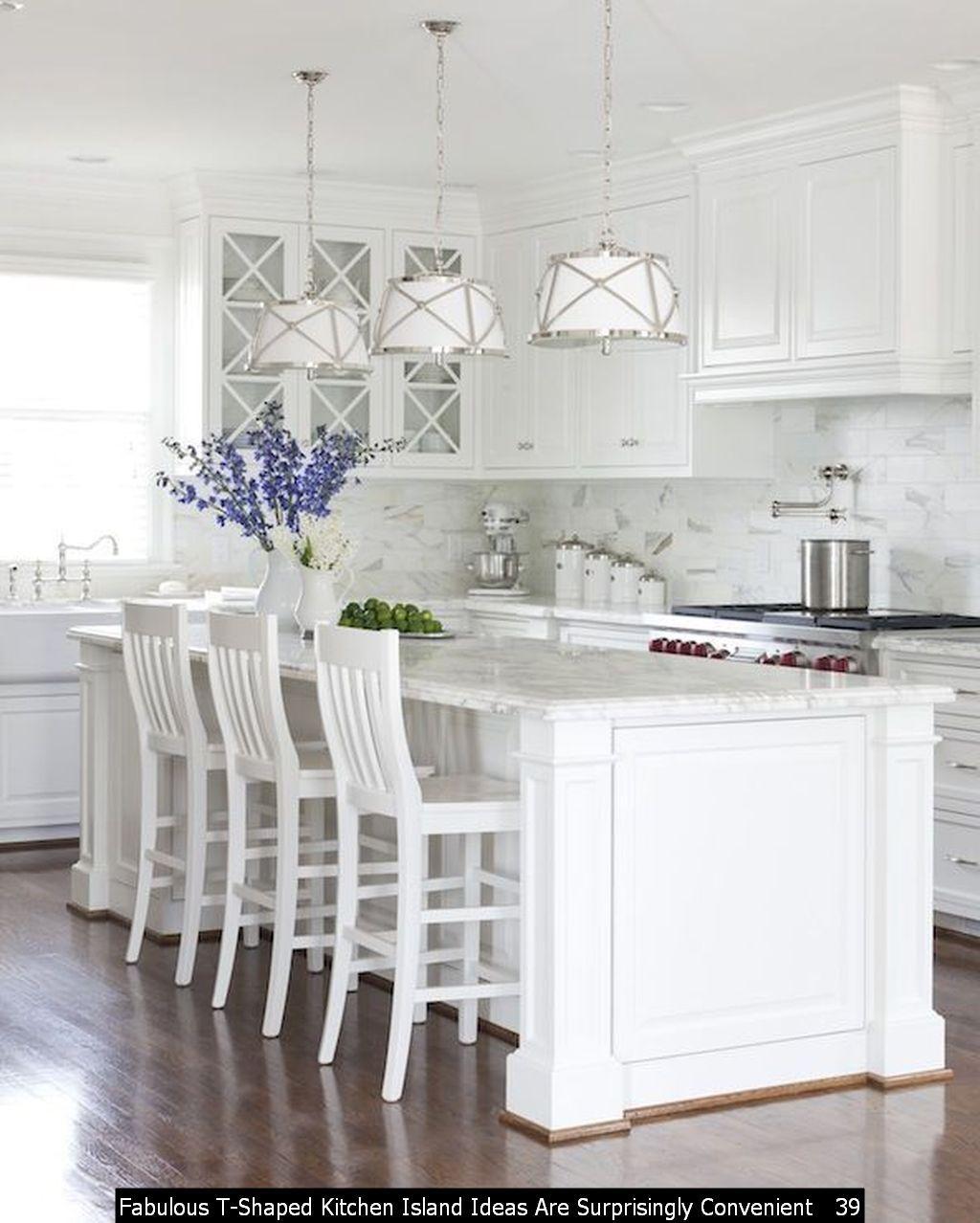 46 Fabulous T Shaped Kitchen Island Ideas Are Surprisingly Convenient In 2020 White Cottage Kitchens Gorgeous White Kitchen Kitchen Design Decor