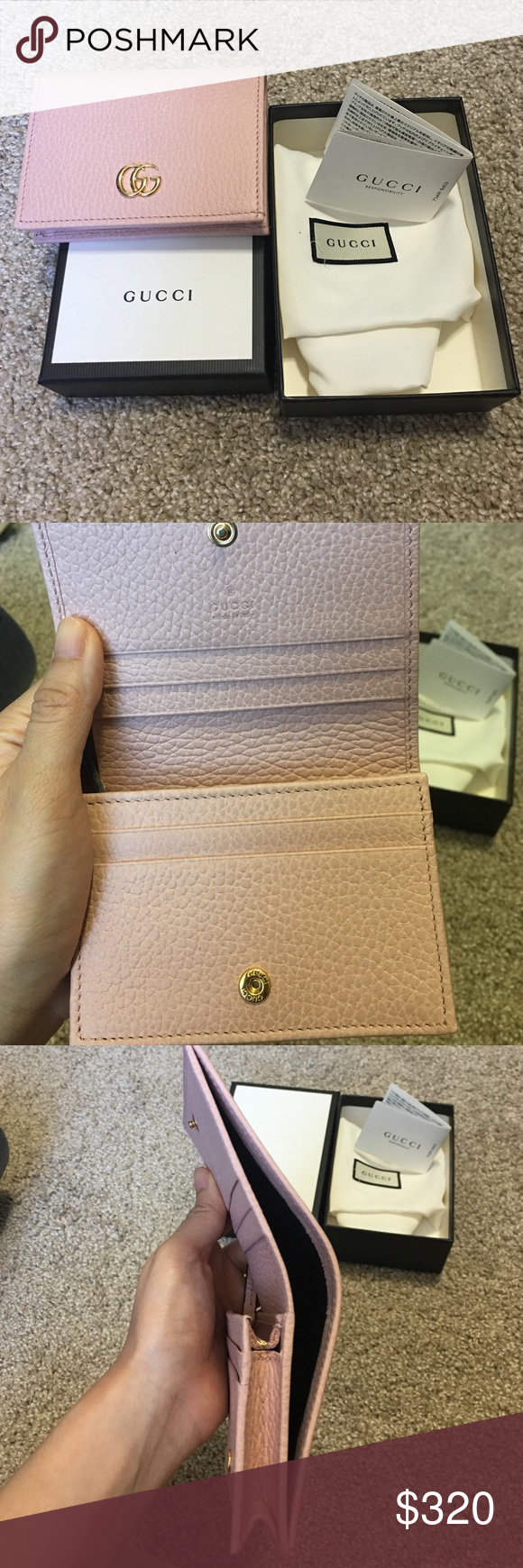 Gg Marmont Quilted Continental Flap Wallet In Neutral