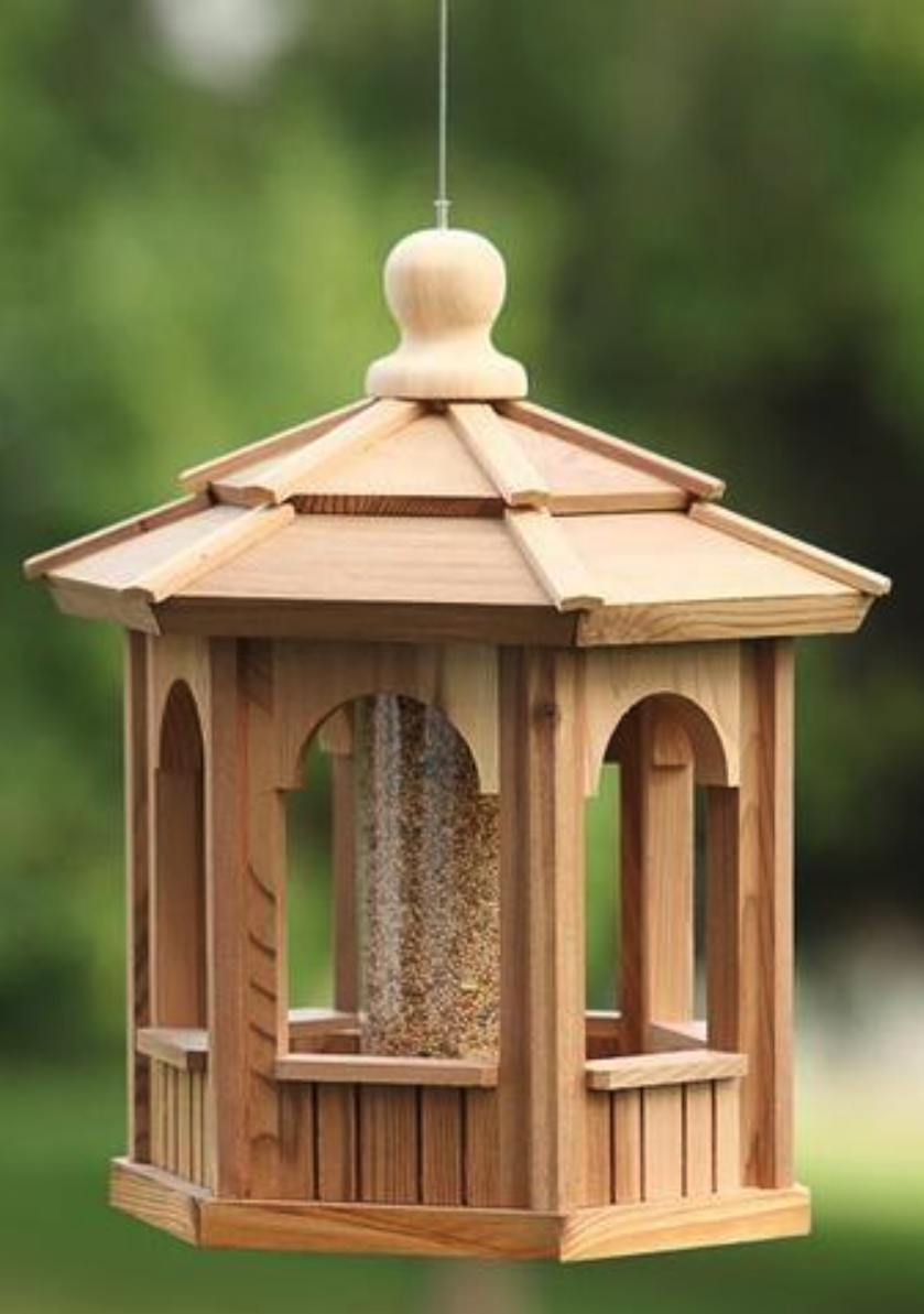 It S For The Birds Our Cedar Hexagon And Octagon Bird Feeders Are A Cute Backyard Addition Providing Food For The Feath Gazebo Gazebo Bird Feeder Bird Feeders