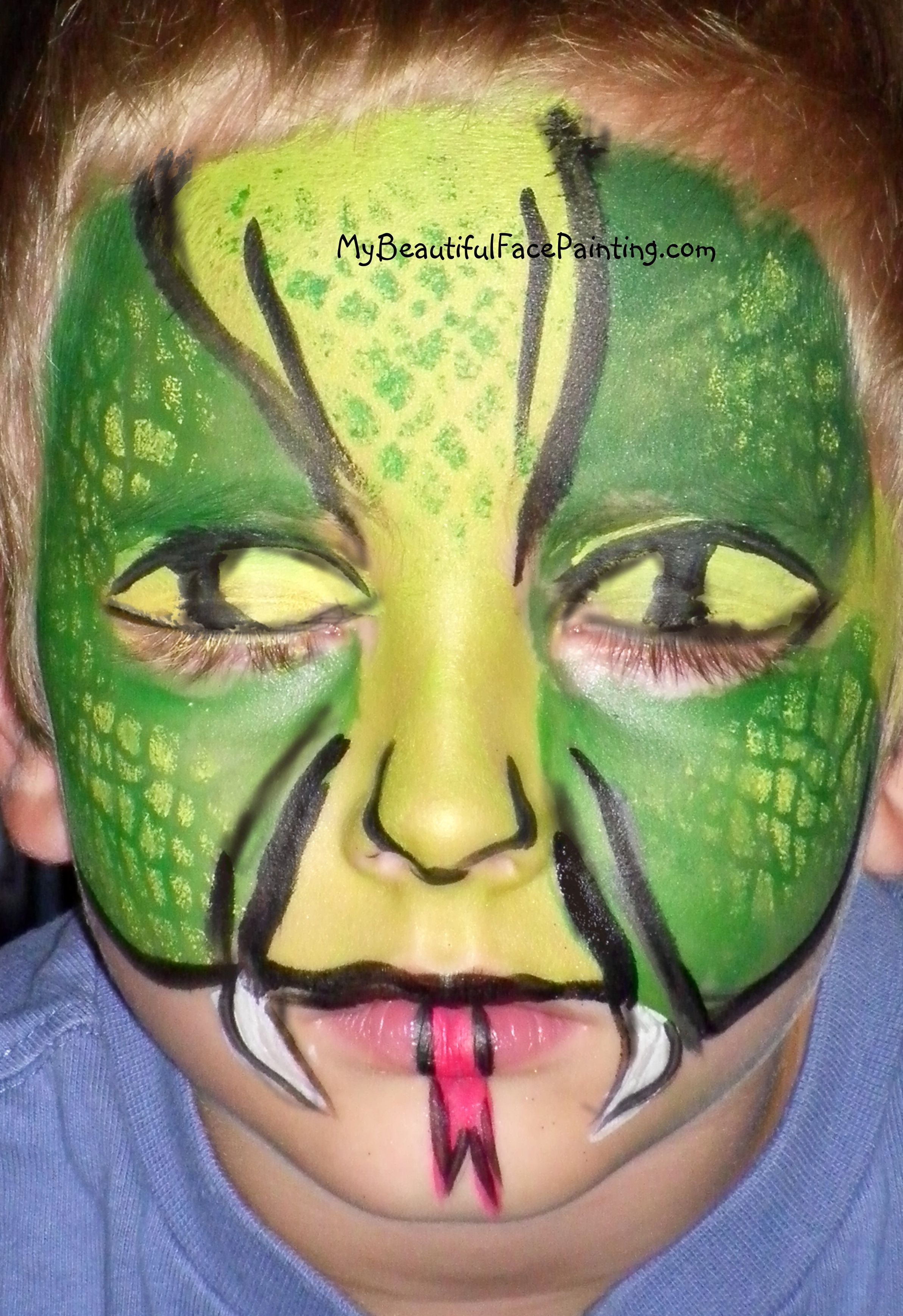 snake face paint green for your halloween party. Light green and ...