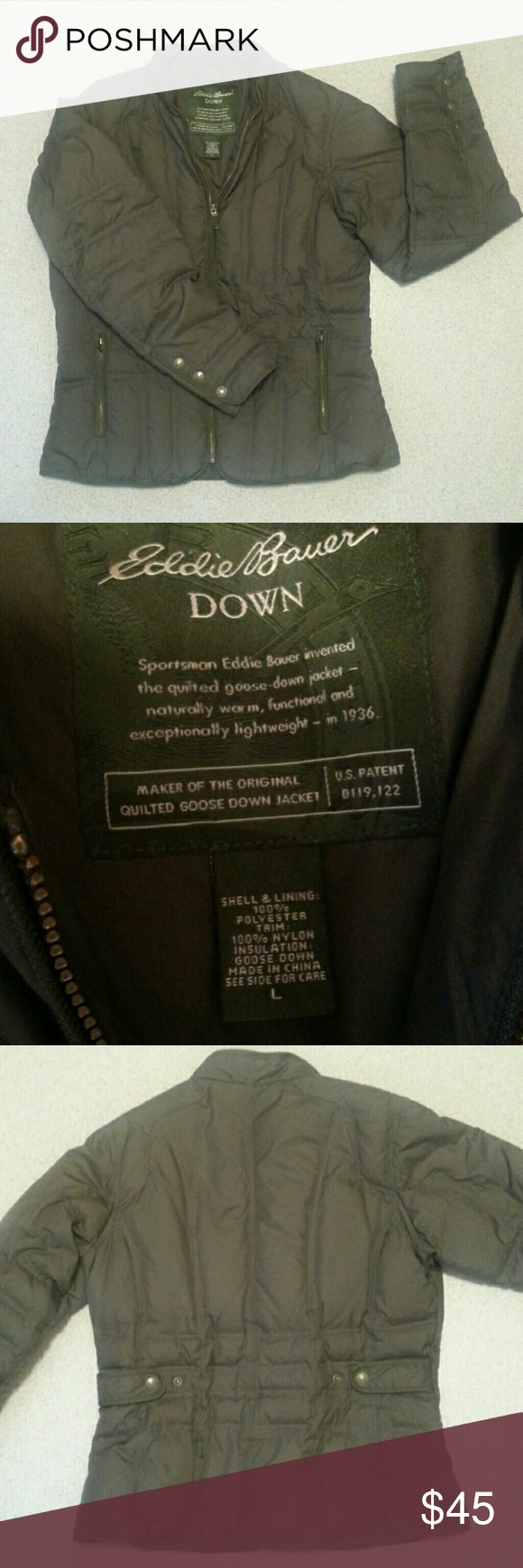 Eddie Bauer Quilted Goose Down Jacket Sportsman Eddie bauer invented the quilted goose-down jacket-naturally warm, functional and exceptionally lightweight-in 1936 This jacket is more on the medium size. Excellent shape! Jackets & Coats Utility Jackets