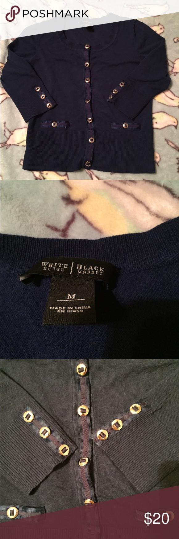 White House Black Market cardigan Navy blue, Sz M, 3/4 sleeves White House Black Market Sweaters Cardigans