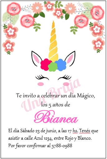 Invitación Unicornio Bianca En 2019 Tarjeta Sofi