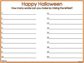 Halloween Words to Make | Grades 6-8: Ideas & Resources ...