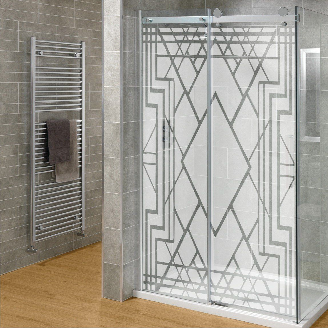 Amazon Com Diy Etched Glass Shower Door Set Art Deco Design By