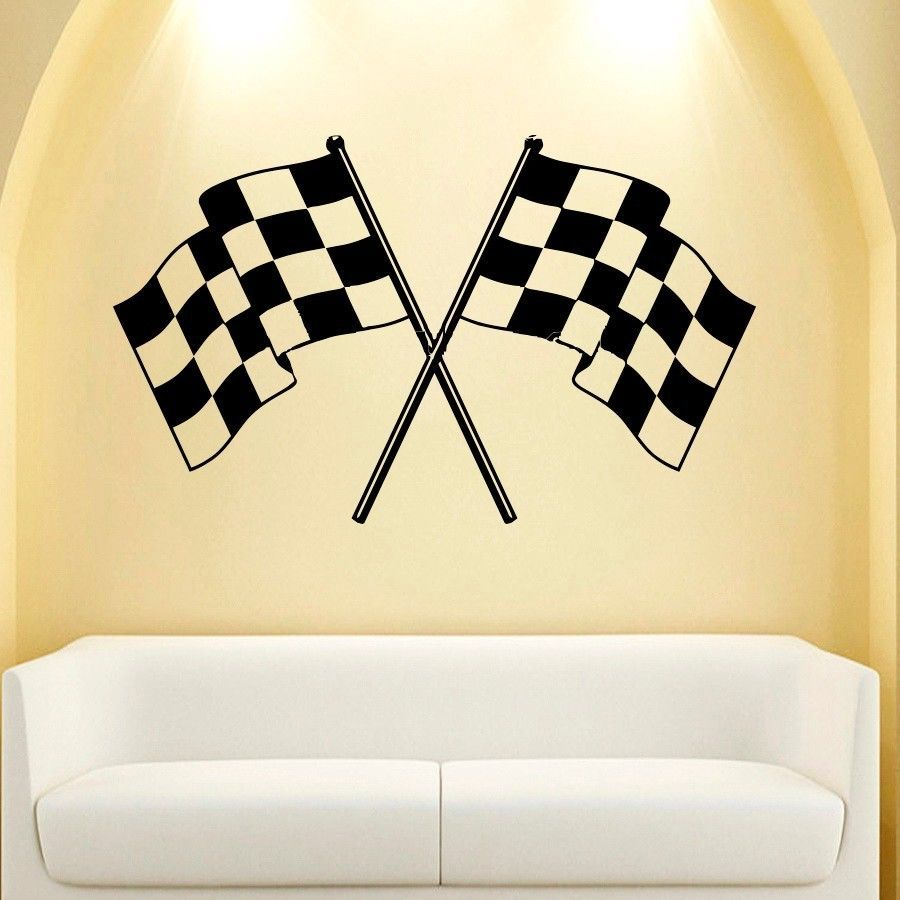 WALL DECAL VINYL STICKER DECALS CHECKERED FLAG FINISH LINE RACING ...