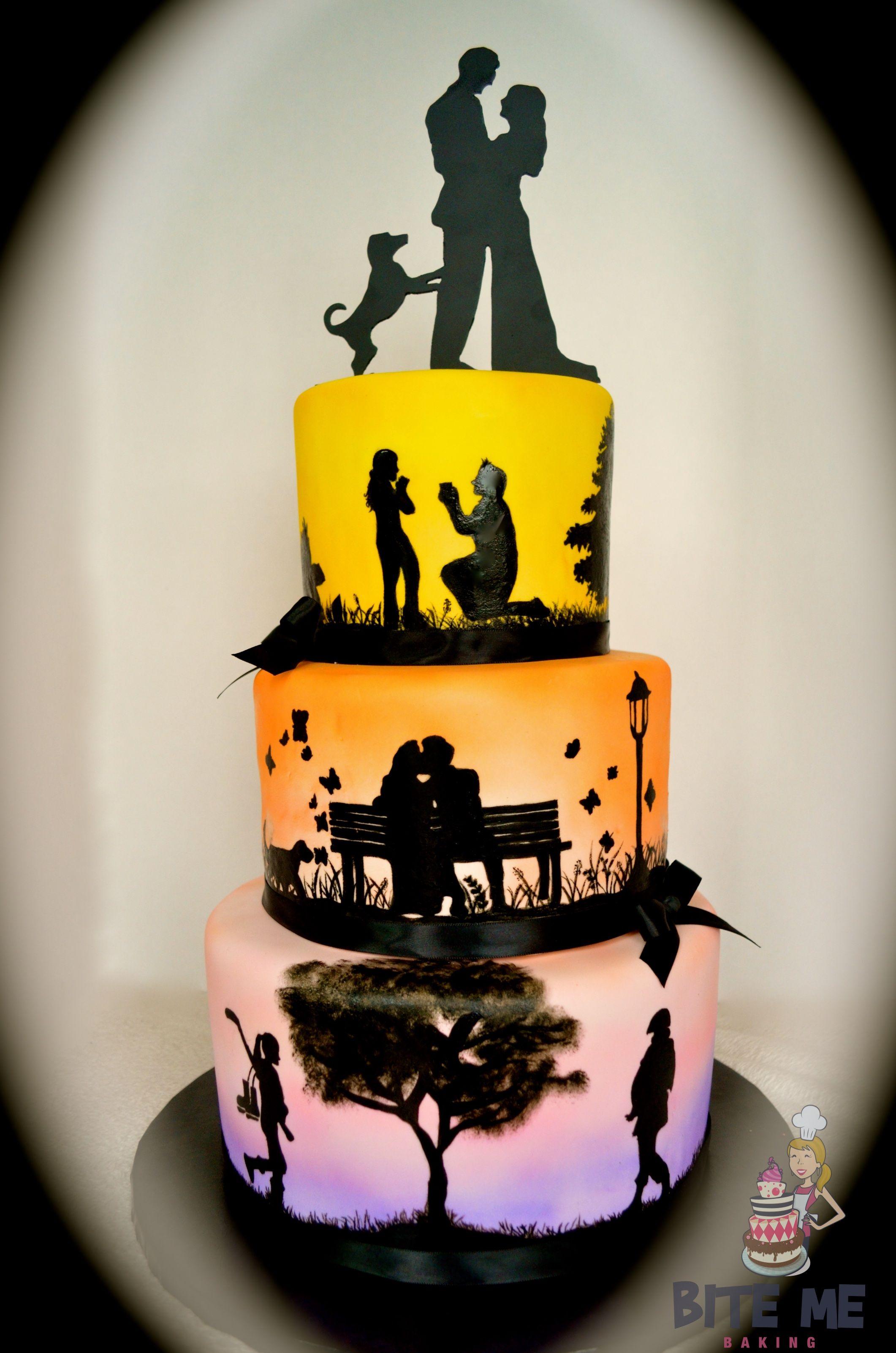 Love Story Silhouette Wedding Cake Multiple Colors Wedding Ideas