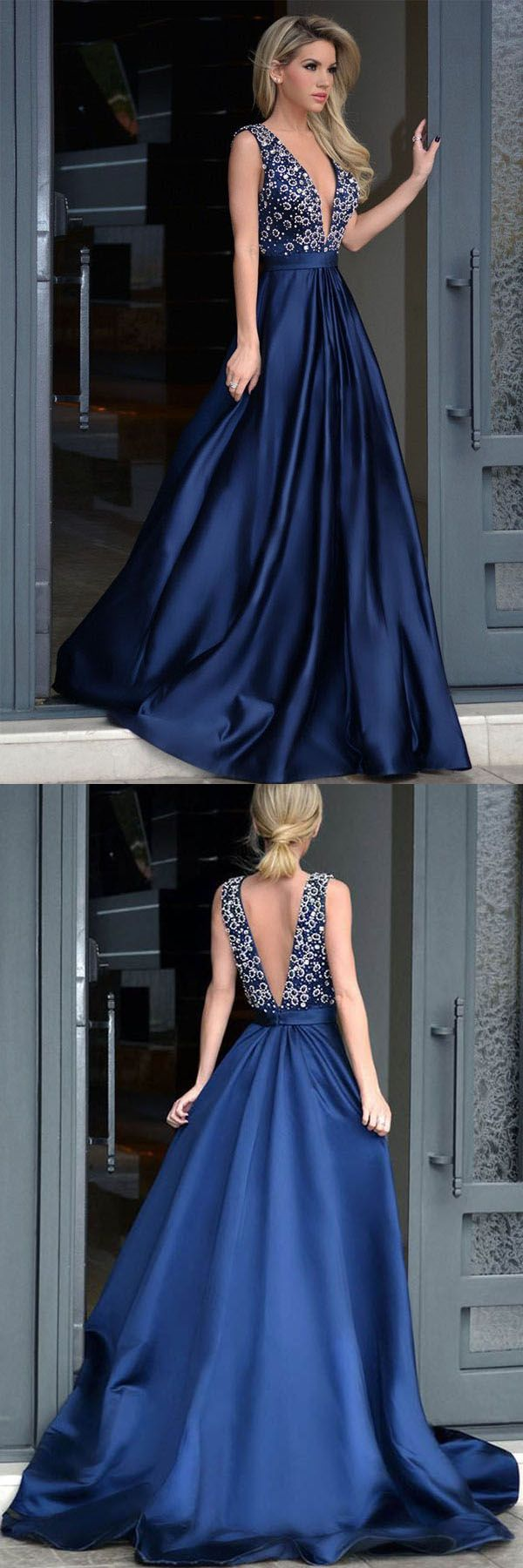 Vneck royal blue satin beading prom dresses with sweep train pg