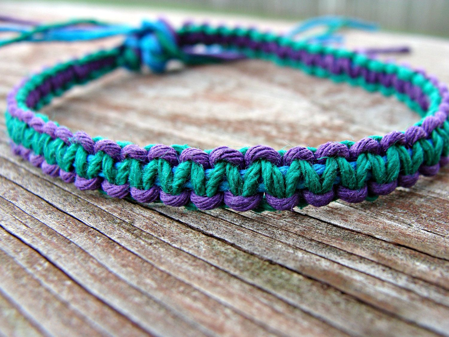 Hemp Bracelet Patterns Purple And Blue Green Woven By Hempkitty On Etsy