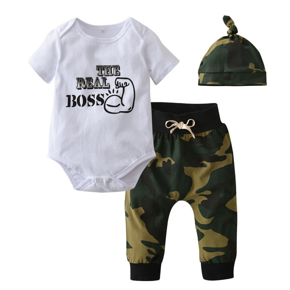 2e37bf02e 3PC Set Camouflage Baby Boys Clothes Letter Printed Bodysuit Tops ...