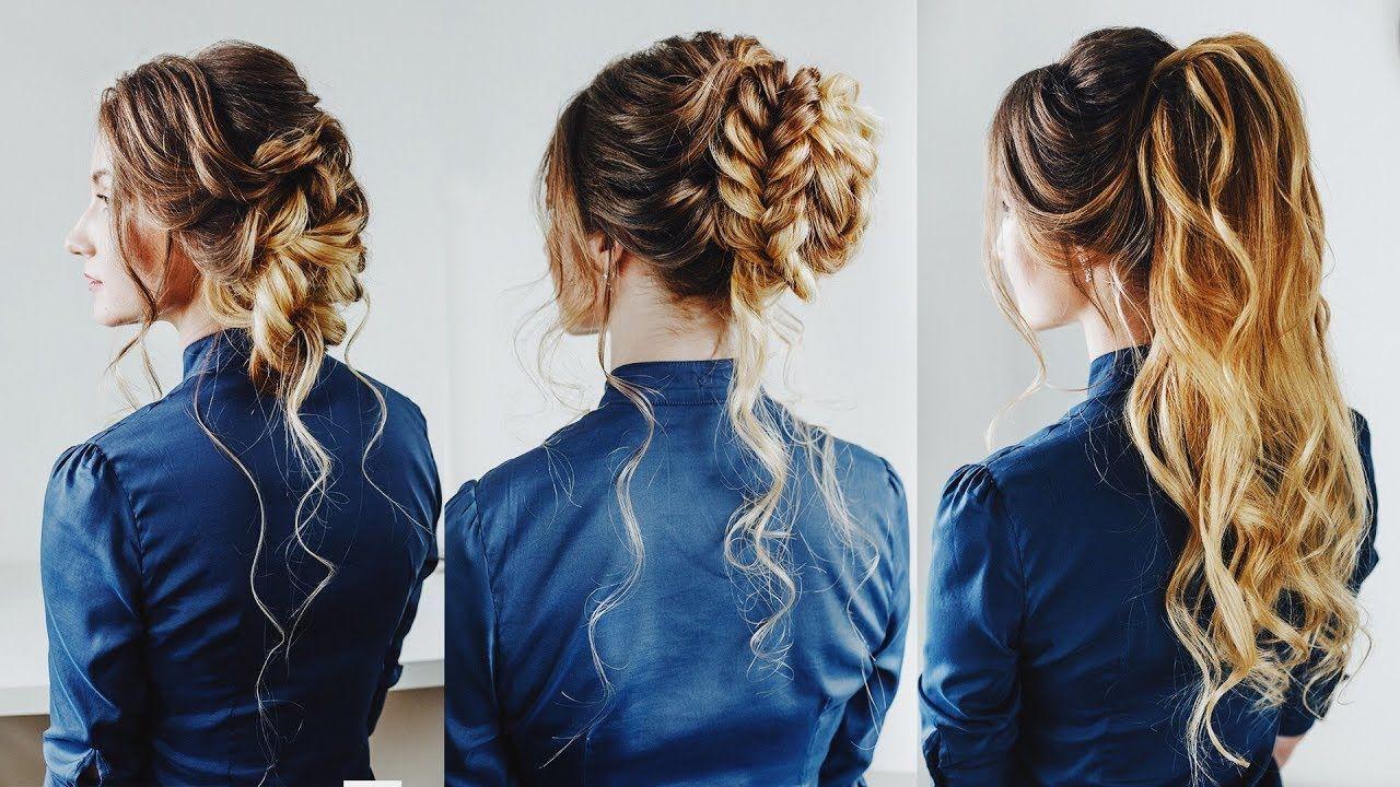 3 Easy Hairstyles: Prom hair half up ponytail Braided bun ...