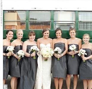 b1e8fb603b Pewter bridesmaid dresses. Love this color!